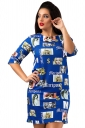 Womens Crewneck Beauty Printed Half Sleeve Shift Dress Sapphire Blue