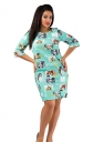 Womens Crewneck Beauty Printed Half Sleeve Shift Dress Turquoise
