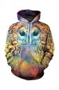 Womens Pocket Long Sleeve Galaxy Owl Printed Pullover Hoodie Gold