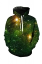 Womens Pocket Long Sleeve Galaxy Printed Pullover Hoodie Green