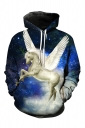 Womens Pegasus Printed Pocket Long Sleeve Pullover Hoodie Blue