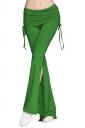 Womens Plain Double Drawstring Sides Slit Bell Bottom Yoga Pants Green