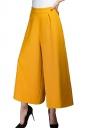 Womens High Waist Plain Palazzo Leisure Pants Yellow