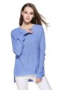 Womens High Low Crewneck Long Sleeve Plain Pullover Sweater Blue