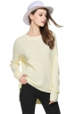 Womens High Low Crewneck Long Sleeve Plain Pullover Sweater Yellow
