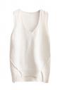 Womens V-neck High Low Plain Pullover Sweater Vest White