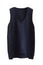 Womens V-neck High Low Plain Pullover Sweater Vest Navy Blue
