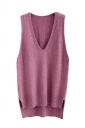 Womens High Low Side Slit V-neck Pullover Sweater Vest Purple