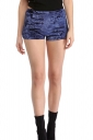 Womens Pleuche High Waist Plain Mini Shorts Blue