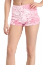 Womens Pleuche High Waist Plain Mini Shorts Pink