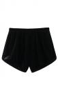 Womens Velvet Elastic Waist Plain Mini Shorts Black