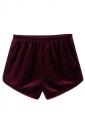 Womens Velvet Elastic Waist Plain Mini Shorts Ruby
