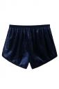 Womens Velvet Elastic Waist Plain Mini Shorts Navy Blue
