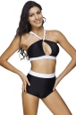 Womens Color Block Cut Out Bikini Top&High Waist Swimsuit Bottom Black