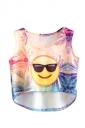 Womens High Low Smile Emoji Printed Sleeveless Crop Top Yellow