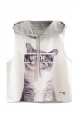 Womens Sleeveless Cat Printed Drawstring Hooded Crop Top Gray