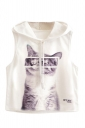 Womens Sleeveless Cat Printed Drawstring Hooded Crop Top White