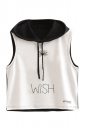 Womens Sleeveless Dandelion Printed Drawstring Hooded Crop Top Black