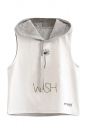 Womens Sleeveless Dandelion Printed Drawstring Hooded Crop Top Gray