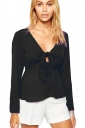 Womens Chiffon Bow V-neck Long Sleeve Plain Blouse Black