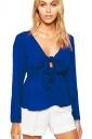 Womens Chiffon Bow V-neck Long Sleeve Plain Blouse Sapphire Blue