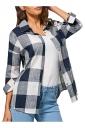 Womens Turndown Collar Plaid Long Sleeve Blouse Navy Blue