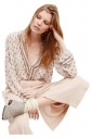 Womens Plunging Neck Striped Printed Long Sleeve Chiffon Blouse White