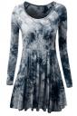 Womens Crewneck Tie Dye Long Sleeve Skater Dress Blue
