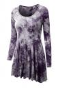 Womens Crewneck Tie Dye Long Sleeve Skater Dress Purple