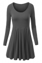 Womens Crewneck Ruched Long Sleeve Plain Skater Dress Dark Gray