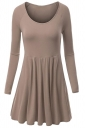 Womens Crewneck Ruched Long Sleeve Plain Skater Dress Khaki
