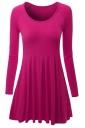 Womens Crewneck Ruched Long Sleeve Plain Skater Dress Rose Red