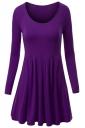 Womens Crewneck Ruched Long Sleeve Plain Skater Dress Purple