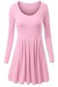 Womens Crewneck Ruched Long Sleeve Plain Skater Dress Pink