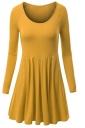 Womens Crewneck Ruched Long Sleeve Plain Skater Dress Yellow