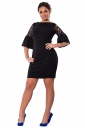 Womens Lace Patchwork Flare Sleeve Plus Size Dress Black