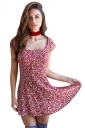 Womens Square Neck Floral Printed Lace-up Back Skater Dress Red