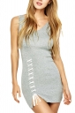 Womens V-neck Lace-up Backless Side Slit Plain Tank Dress Gray