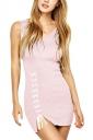 Womens V-neck Lace-up Backless Side Slit Plain Tank Dress Pink