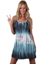 Womens Striped Color Gradient Racerback Tank Dress Navy Blue