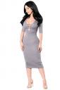 Womens Cutout Half Sleeve Plain Bodycon Midi Dress Gray