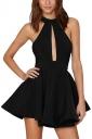 Womens Sheer Halter Strapless Cutout Plain Skater Dress Black