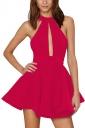Womens Sheer Halter Strapless Cutout Plain Skater Dress Watermelon Red