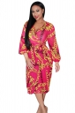 Womens V-neck Long Sleeve Chain Printed Midi Dress Pink