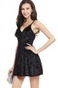 Womens Spaghetti Straps V-neck Backless Plain Skater Dress Black