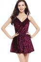 Womens Spaghetti Straps V-neck Backless Plain Skater Dress Ruby