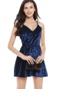 Womens Spaghetti Straps V-neck Backless Plain Skater Dress Navy Blue