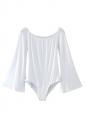 Womens Boat Neck Flare Long Sleeve Plain Bodysuit White