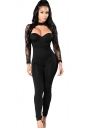 Womens Halter Lace Patchwork Long Sleeve High Waist Catsuit Black