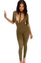Womens Halter Plunging Neck Short Sleeve Plain Catsuit Army Green